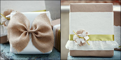 DIY Burlap and Doily Lace Gift Wrap