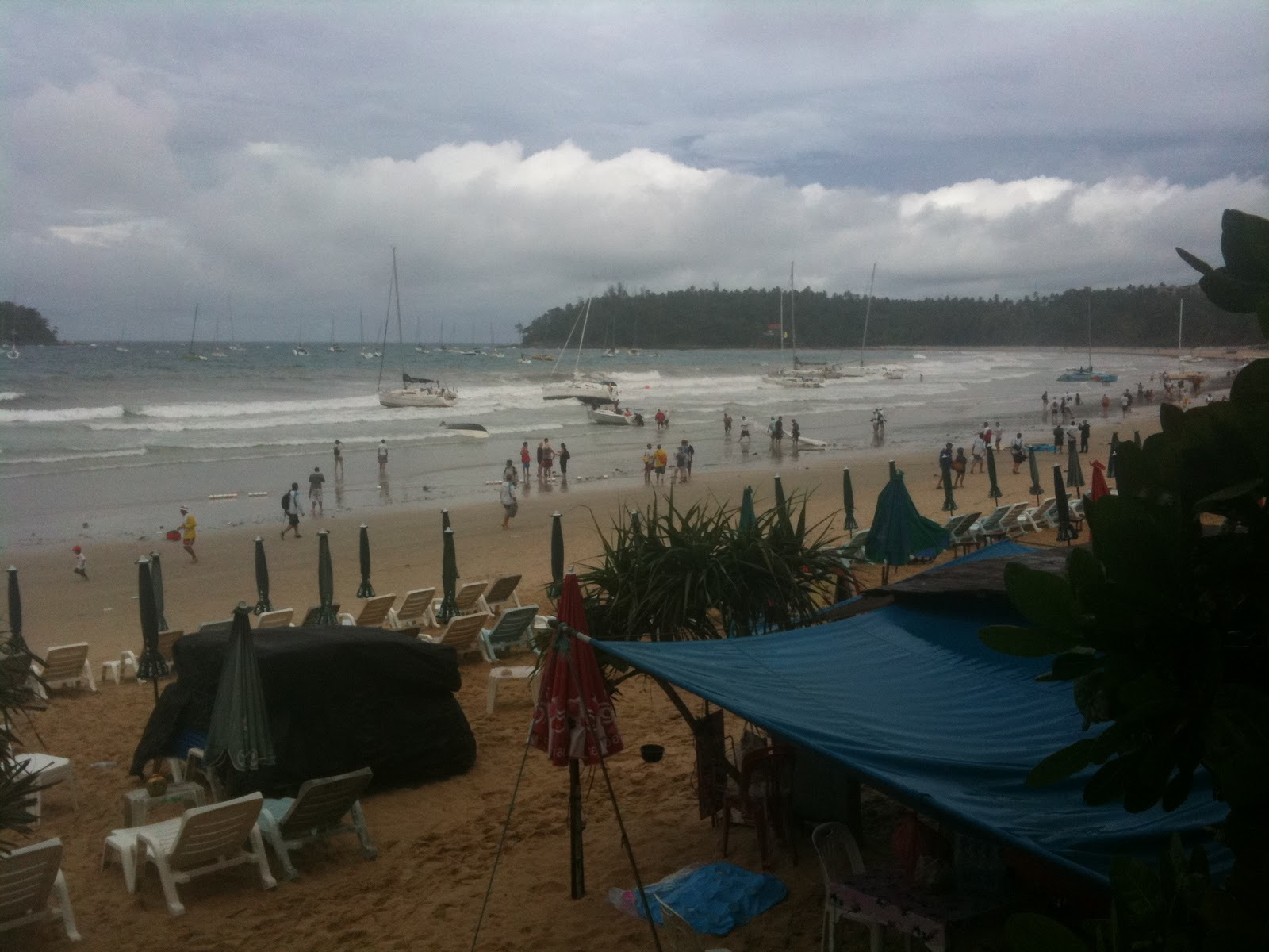 Arrive at Kata Beach this morning to a scene of carnage: 13 yachts -- nine ...