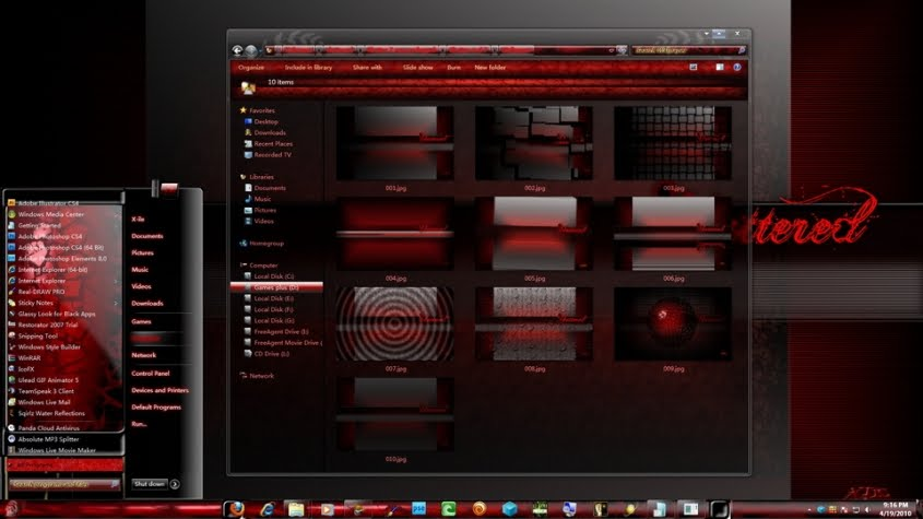 Shatter red aero theme for windows