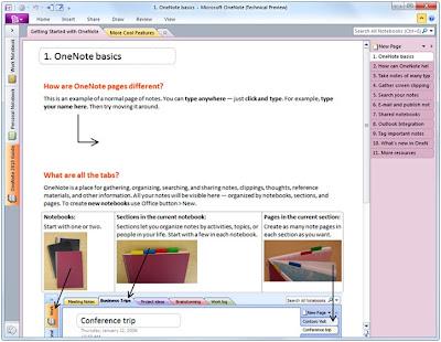 Microsoft OneNote 2010 screenshot