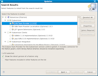 Updates dialog with SVN Team Provider 1.1.9.02 selected to install