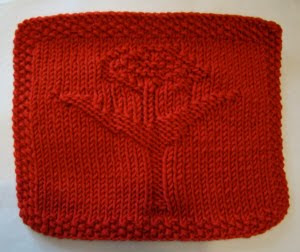 Knit a Rose Bud Dishcloth