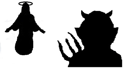 Jesus and Satan silhouette