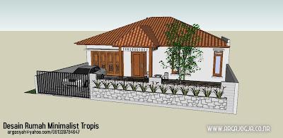 desain rumah minimalist tropis pada lahan 12×23 meter
