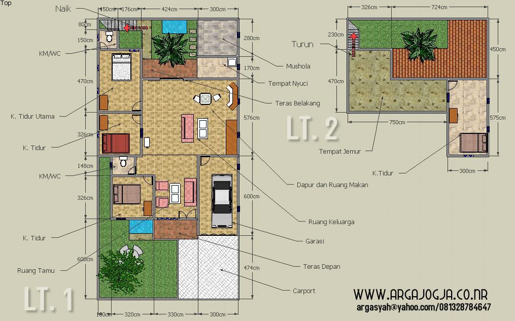 Desain Sketch Denah Rumah 2 Lantai Pada Lahan 105x21 meter