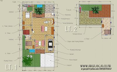 Desain Sketch Denah Rumah 2 Lantai Pada Lahan 10,5x21 meter