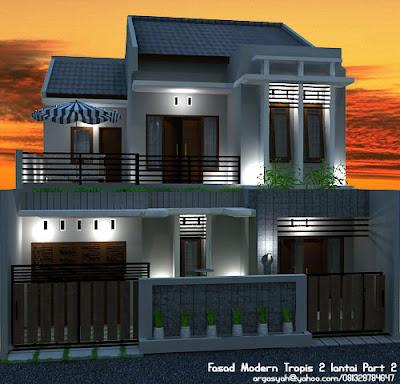 Gambar Rumah Rumah Modern on Sipil Karo Arsitek  Desain Fasad Rumah 2 Lantai Modern Tropis Part 2