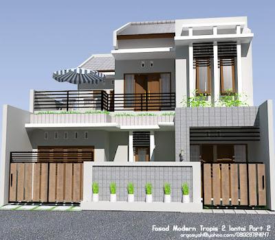 desain fasad rumah 2 lantai modern tropis part 2