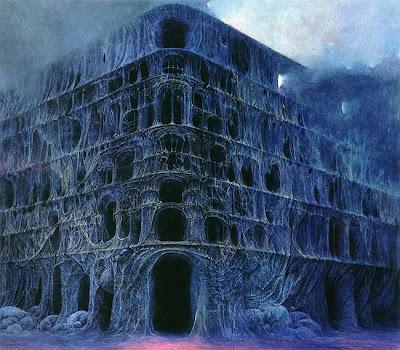 beksiński budynek płonący