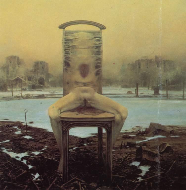 beksiński nogi na krześle
