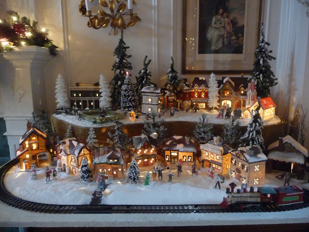 christmas village display set up