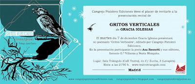 Gracia Iglesias poesía Gritos Verticales Cangrejo Pistolero Ediciones Ana Rossetti Madrid Sala Triángulo performance recital Ana Arcas Juana Castro
