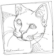 White Cat Face - continuous line drawing white cat face cld