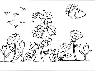 Dibujos para colorear de caracoles for Jardin dibujo