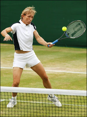 Martina Navratilova getting her tennis on