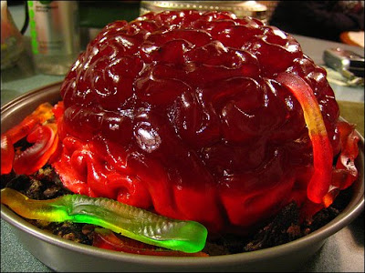 Red Jello brains with gummi worms