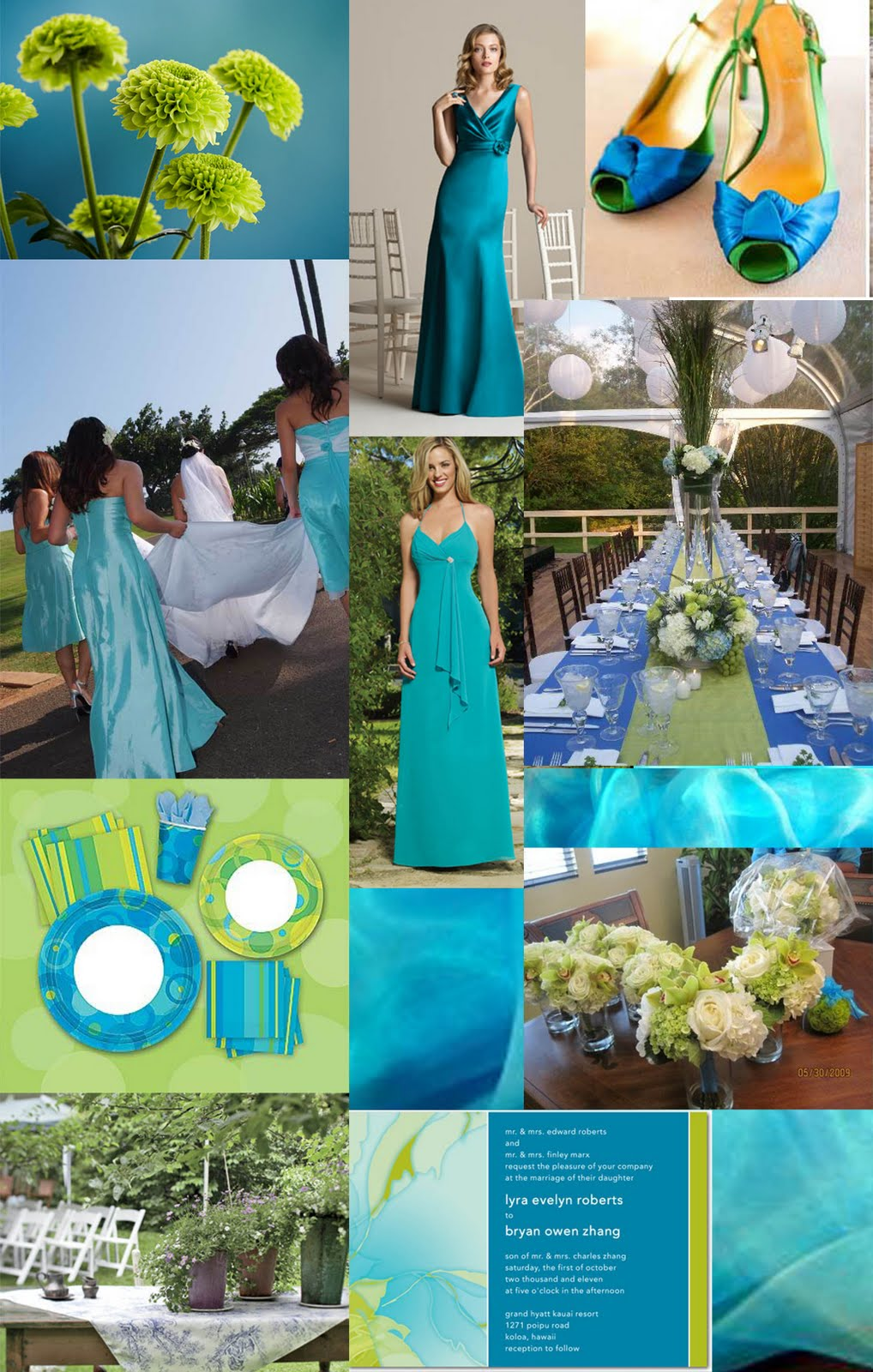 Weddingzilla: Blue Green Turquoise Wedding Inspiration Board