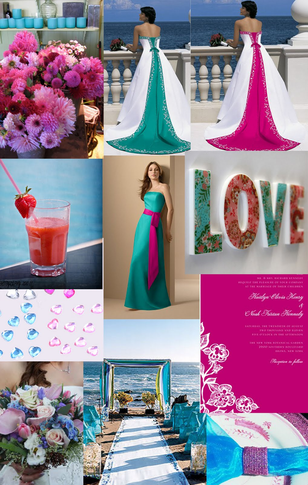 Weddingzilla: Turquoise and Pink Wedding Inspiration Board