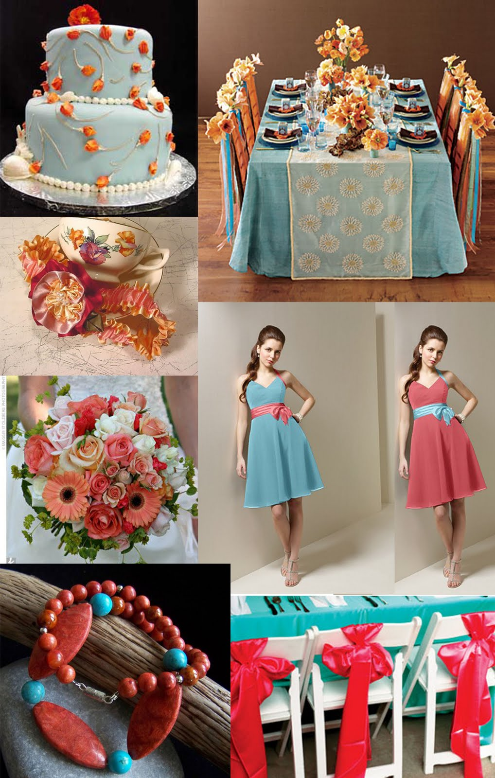 Weddingzilla: Wedding Inspiration Board, Coral and Turquoise Blue