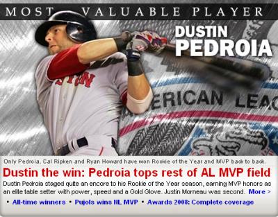 Dustin Pedroia 2008 AL MVP
