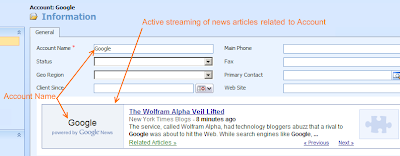 Dynamics CRM 4.0 Account with Google News widget