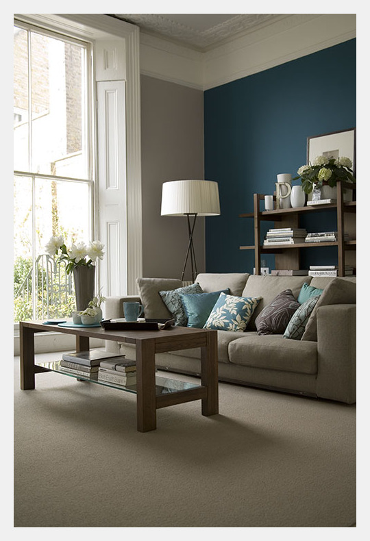 Estilo home blue accent walls - Accent colors for beige living room ...