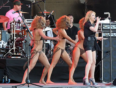 girls in bikinis onstage with wolf masks, goldfrapp