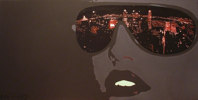 Painted canvas containing popart styled face wearing eyewear with Montreal depicted in them with a bright orange red glow resembling neon lights. Created using Liquitex acrylic paint.