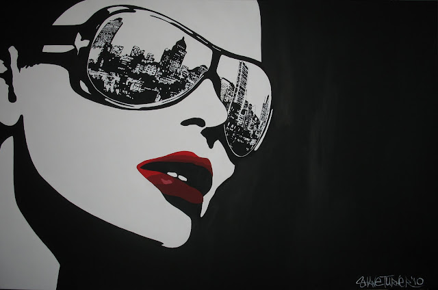 Comic inked style painting of woman in glasses wiht the reflection of Montréal in the sunglasses. Created by painter Shane Turner