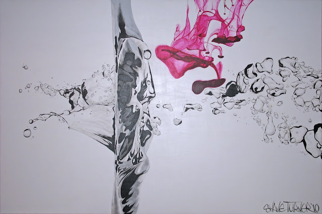 Realistic painting of water droplets and bubble splash underwater with dripping ink falling down into the water creating magenta smoke like cloud.