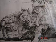 Espinado en el cerco y su burro