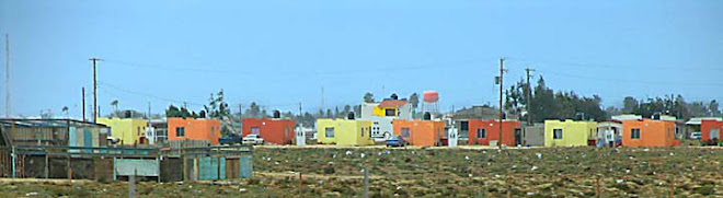 Baja Mexico trip Colorful houses all in a row