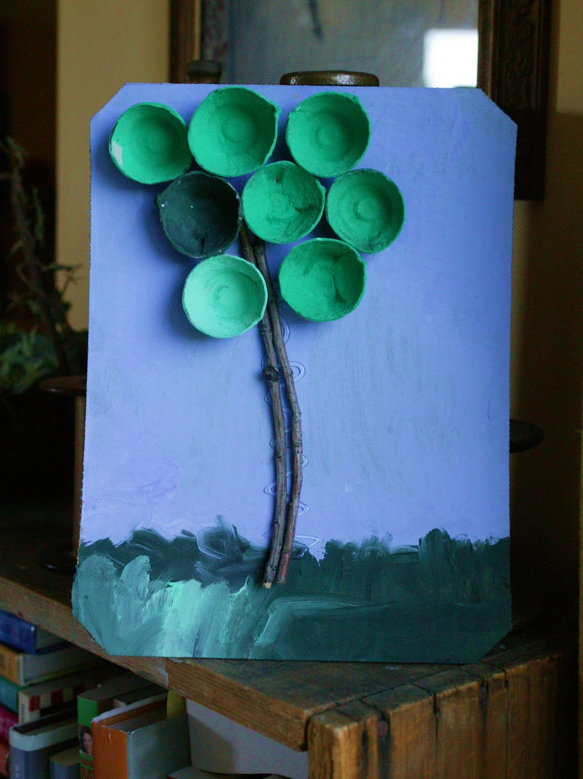 Views from my window recycled art egg carton trees for How to recycle egg cartons