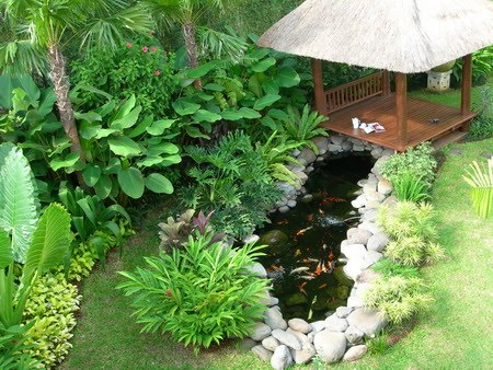 Atmosphere of beautiful tropical garden with pergola designs by the fish pond
