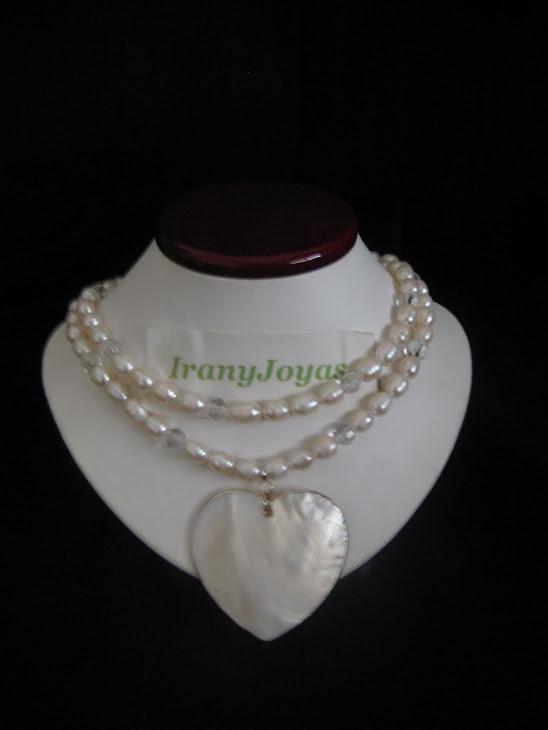 C03104 Collar Corazon, Perlas y Cristales + Aretes