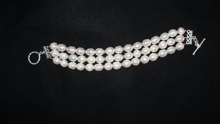 PP03 Pulsera de Perlas con aplicaciones de Plata