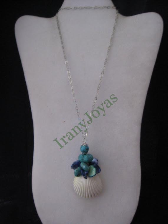 C11091 Collar en Madre Perlas, Turqueza y Concha