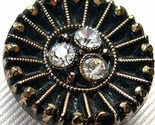 8 Vintage Buttons - Black and Gold Bling -$8-