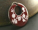 Deep Red Classic Cherry Blossoms --- Handmade Enamel Pendant -$30-