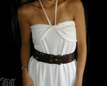 Venni Caprice Versitile White Halter or Strapless Dress or Skirt w Genuine Leather Brown Buckle Belt Medium -$119.99-