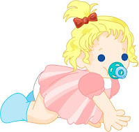 Cartoon baby with soother clip art
