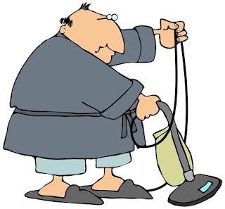 Fat man clip art vacuuming