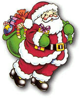 Santa Claus Jolly Saint Nick with a bag of toys in this clip art Christmas pic