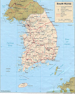 Map of Korea, physical geographic