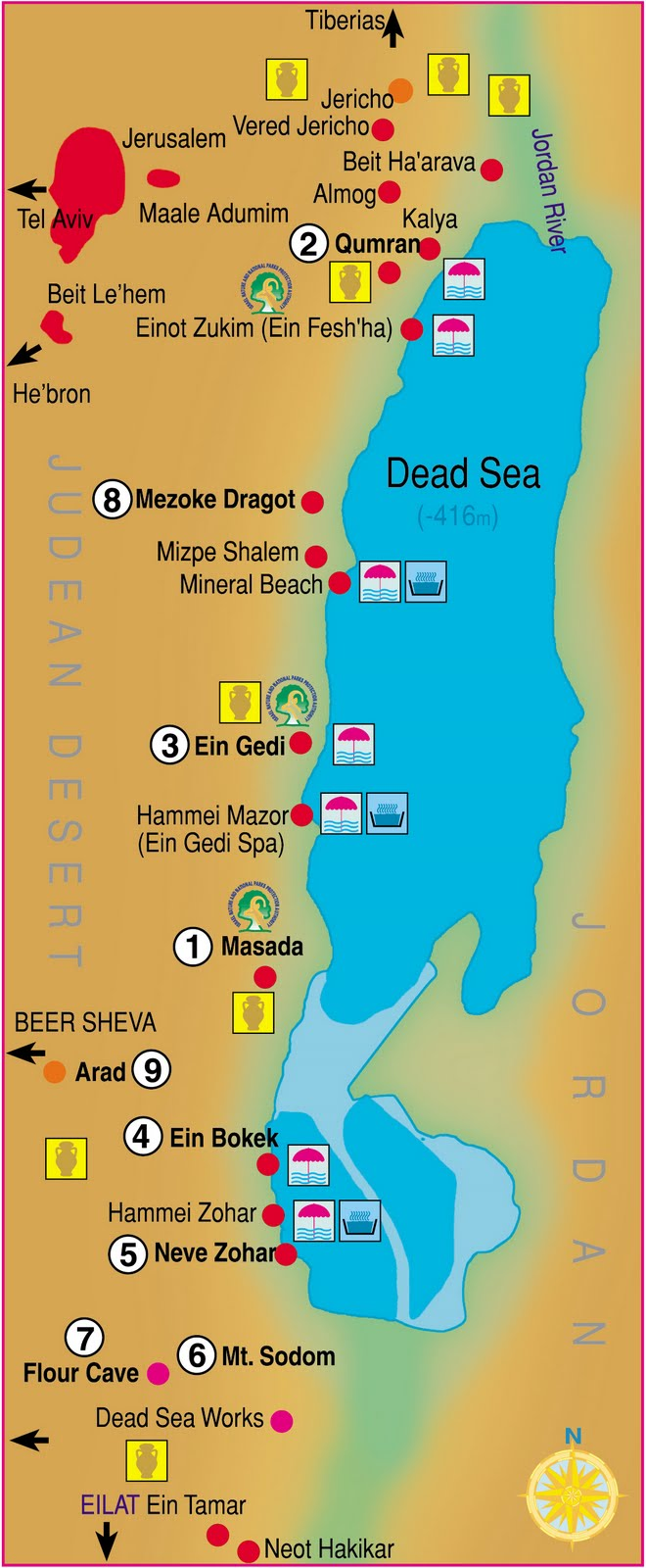 Dead Sea Map  Free Printable Maps