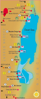 Dead Sea Map including surrounding areas like Judaen Hills