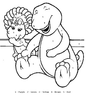 Coloring sheet of Barney and friend with beach ball