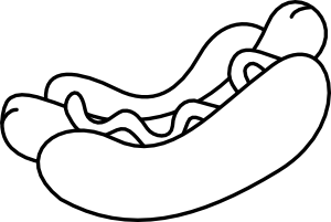 black and white no color hot dog clip art image