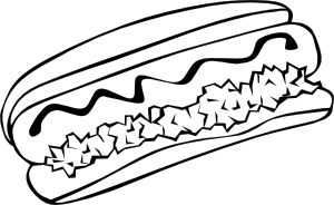 black and white hot dog clipart