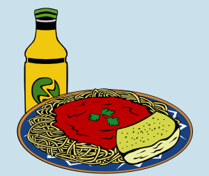 Clipart image of spaghetti meal with a drink and cheese